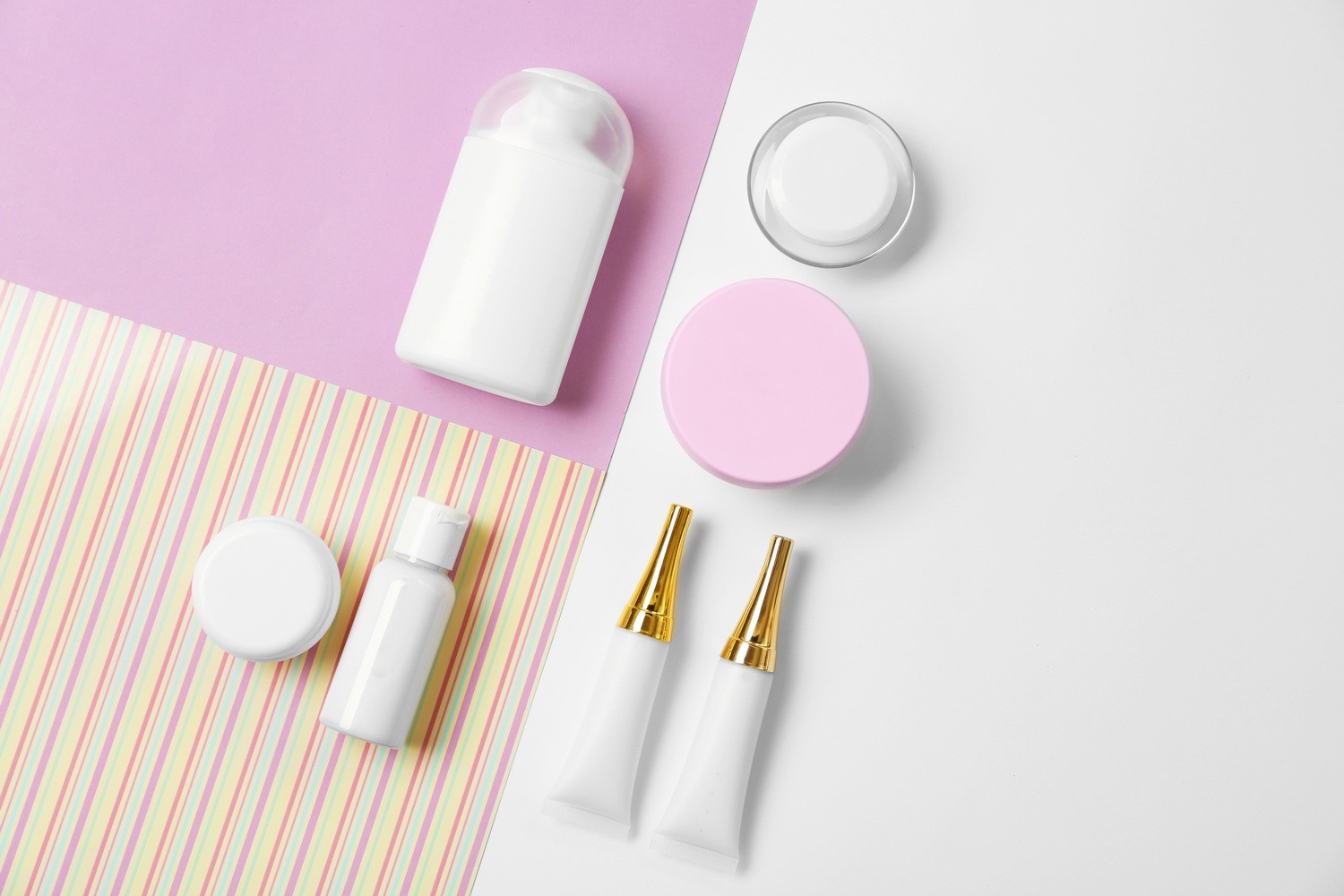 Cosmetics spa mock-up on color background